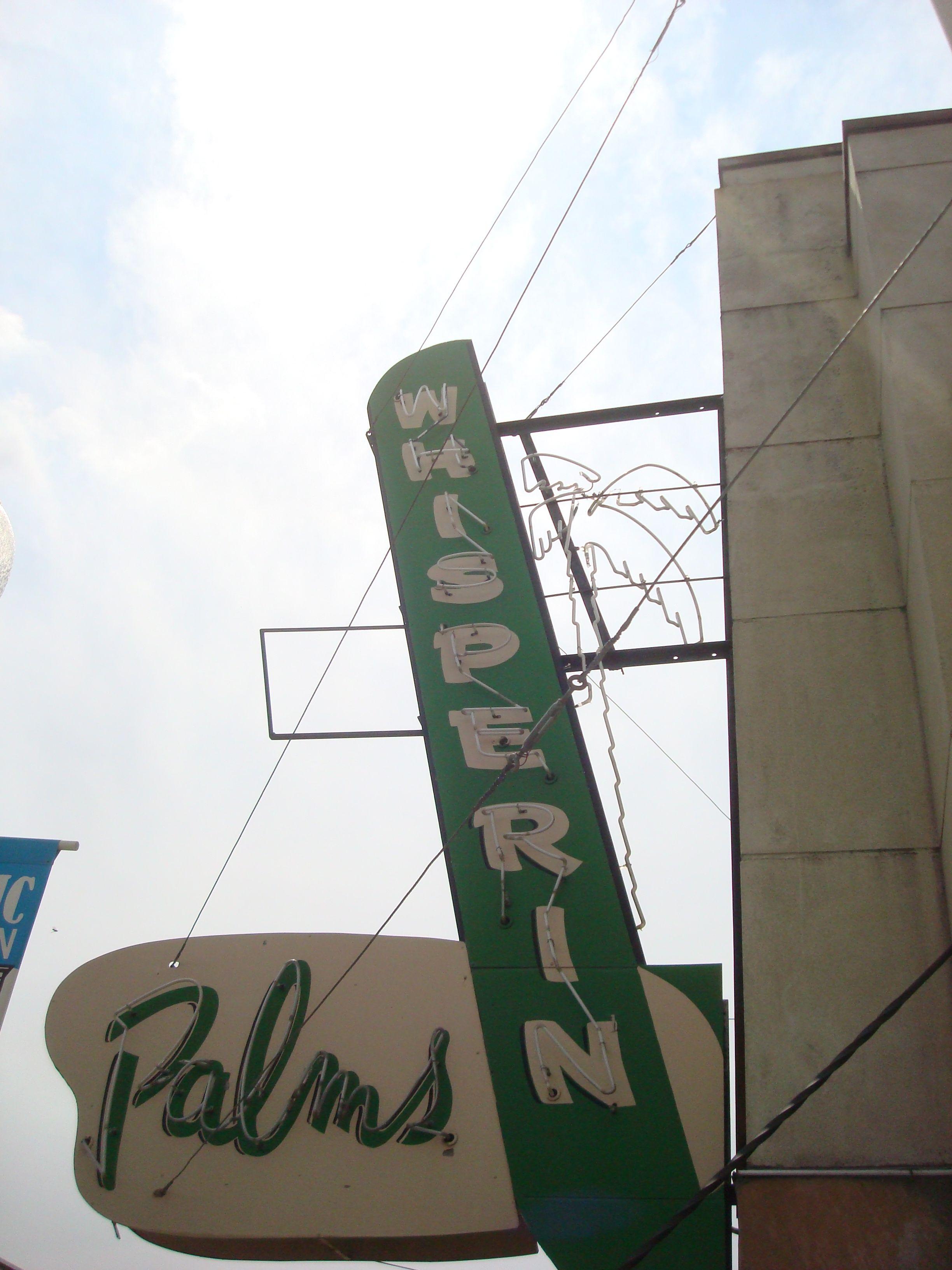 vintage neon sign, Ritzville WA, Whisperin Palms