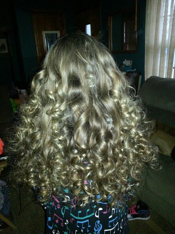 Curls we got from using the wrap snap and go curlers from Sally's Beauty Supply. And no heat or hair products were used.