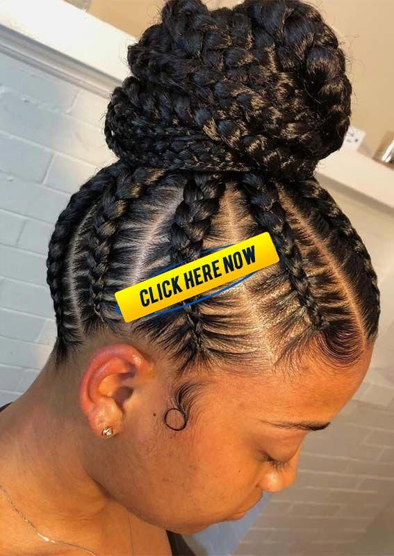 Browse here to see the sensational ideas of feed in braids with high bun styles   Browse here to see the sensational ideas of feed in braids with high bun styles in 2019. Black women can use to sport this amazing hairstyle for more amazing and cute personality. #boxbraidshairstyles #bunshairstylesforblackwomen