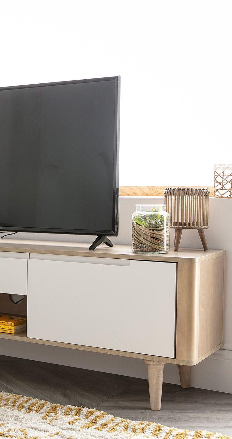 Meuble Tv Scandinave Frene Et Blanc Gotland Miliboo En 2020 Meuble Design Mobilier Scandinave Deco