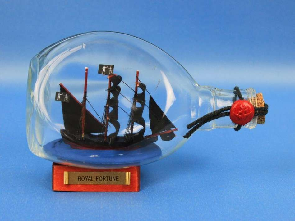 """Black Bart's Royal Fortune Pirate Ship in a Bottle 7"""""""