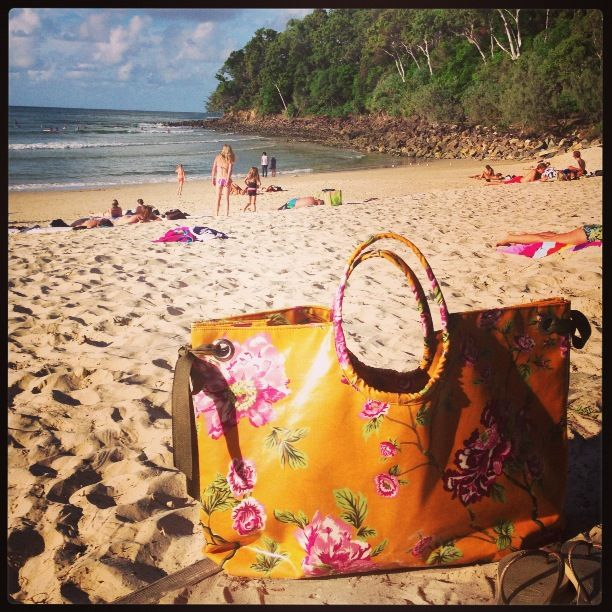 Mustard Rose Beach Bag