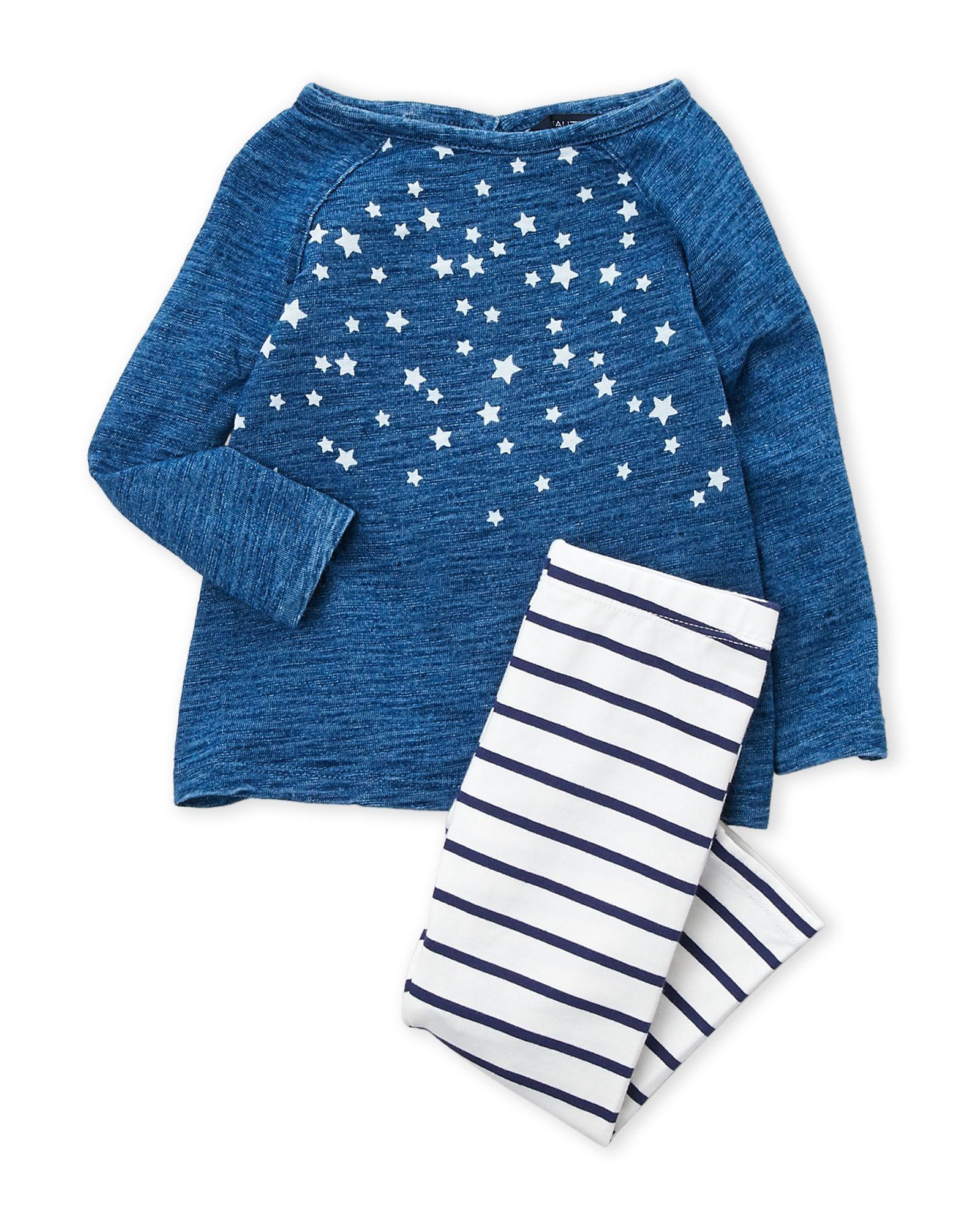 7fe9cd571 Newborn Girls) Two-Piece Star Long Sleeve Top   Striped Leggings Set ...