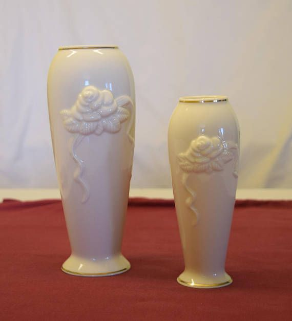 2 Vintage Lenox Vases Cream Vases 24k Gold Edged Vases