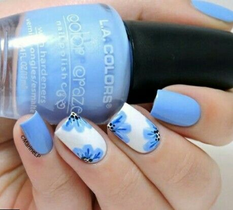 Nail Art Design Sky Blue Hession Hairdressing