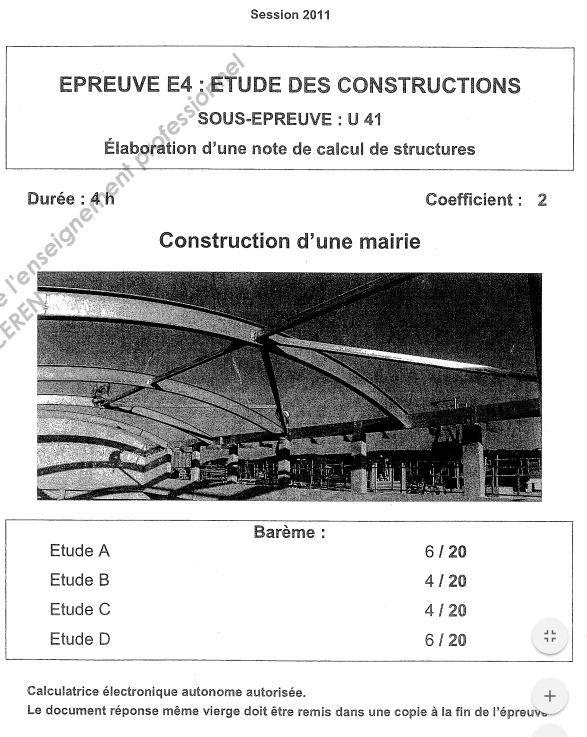 Sujets et corrigés - Élaboration du0027une note de calcul de structures - calculer le prix de sa maison