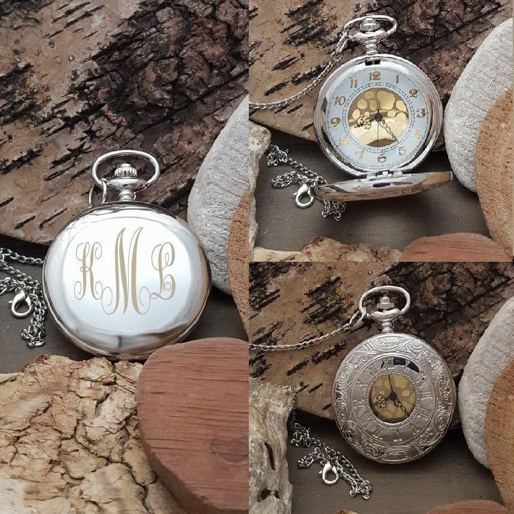 359360971 PW Best Man Groomsmen Engraved Pocket Watch Gift - Swirl Monogram Initials