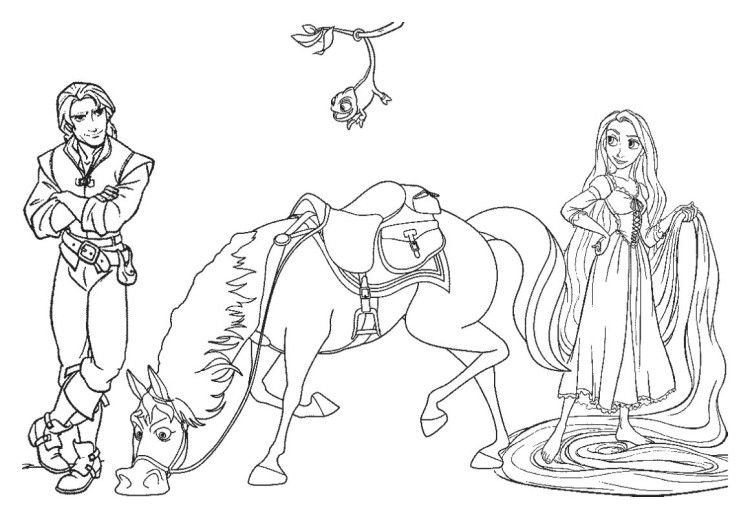 Flynn Rider Maximus And Rapunzel Coloring Pages | Coloring ...