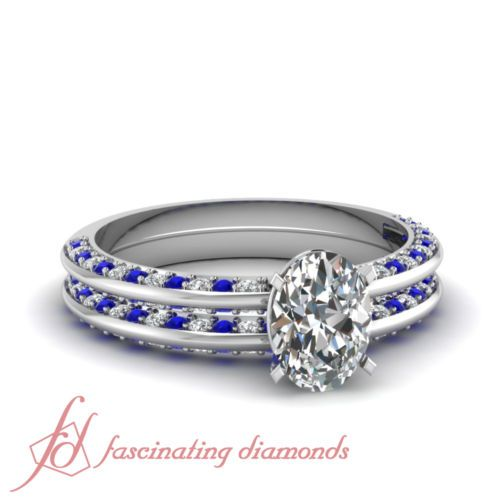 1-55-Ct-Oval-Shaped-Diamond-Blue-Sapphire-Two-Sided-Pave-Wedding-Rings-Set-GIA