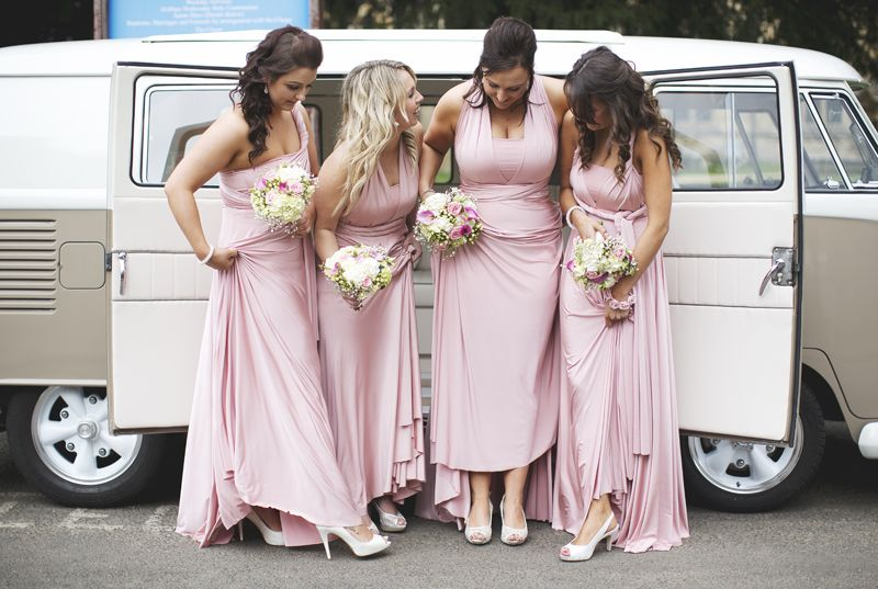 Image by Jen Marino - A Rustic Wedding At Hyde Barn In Stow On The Wold With A Pale Pink Colour Scheme And Bride In Samantha By Sassi Holford With Bridesmaids In Pale Pink Twobirds Dresses http://www.rockmywedding.co.uk/rustic-vintage-prettiness-in-stow-on-the-wold/