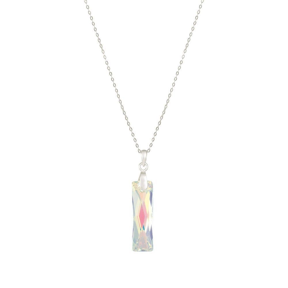 f6a60ea52f71 Lyra Aurora Borealis Swarovski Baguette Crystal Sterling Silver Pendant