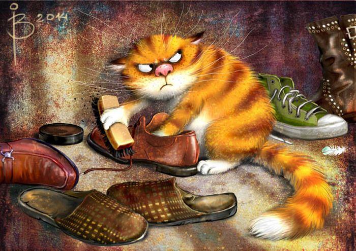 Коты!!! | иллюстрации | Чистая обувь, Кот и Декупаж