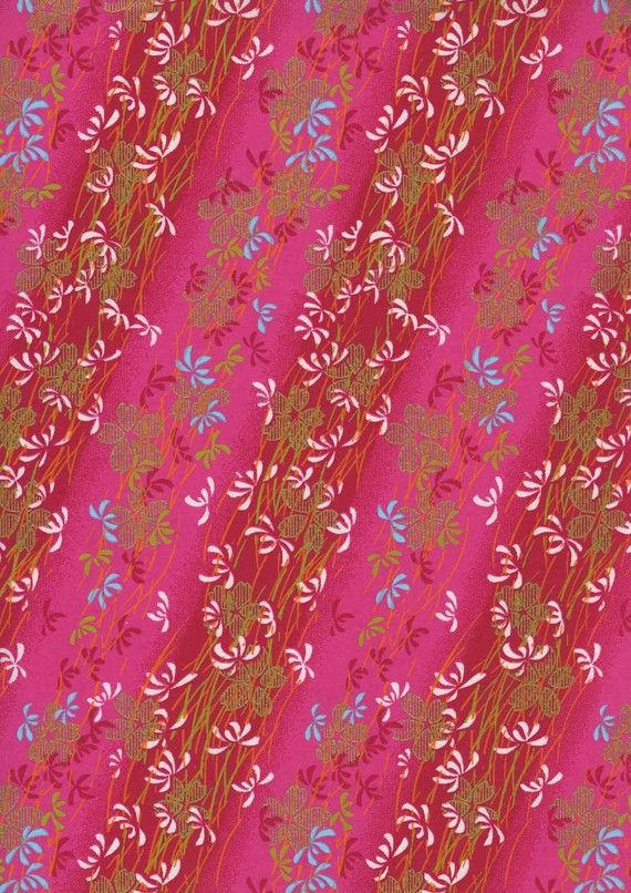 Japanese Yuzen Chiyogami Washi Paper (Floral Design 05)    A top quality A4 sheet of beautiful Chiyogami Paper, ideal for invitations and