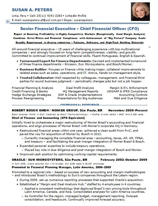 Resume Samples Chief Financial Officer Multi Industries Cfo Sample
