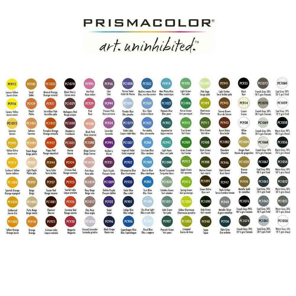 Prismacolor Pencils Color Chart Prismacolor Colored Pencil Set