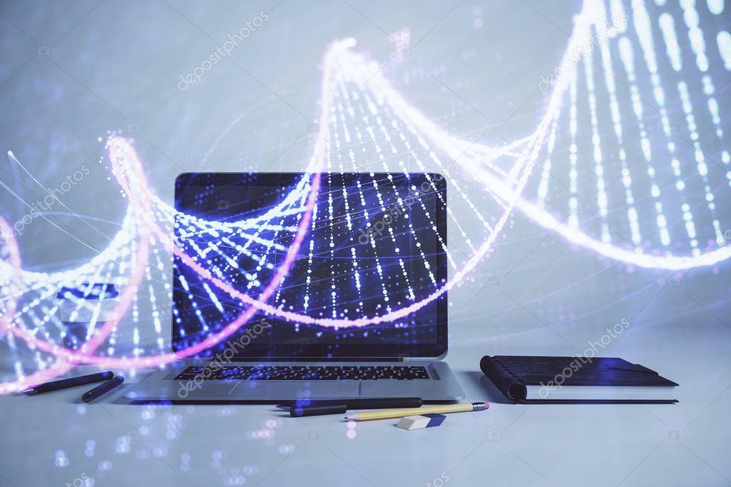 Dna Hologram With Desktop Office Background Double Exposure