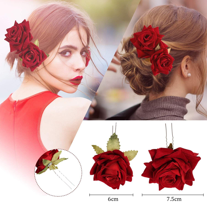 Elegant Bridal Rose Flower Hair Clip Hairpin Wedding Bridesmaid Brooch Accessory