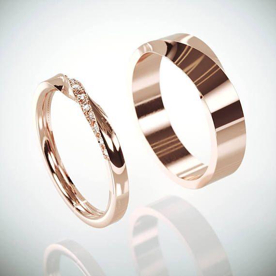 Seine und ihr Mobius Hochzeit Band Set   Rose Gold Mobius Ehering Set mit Diamanten   Twist Ehering Set mit Diamanten #weddingrings
