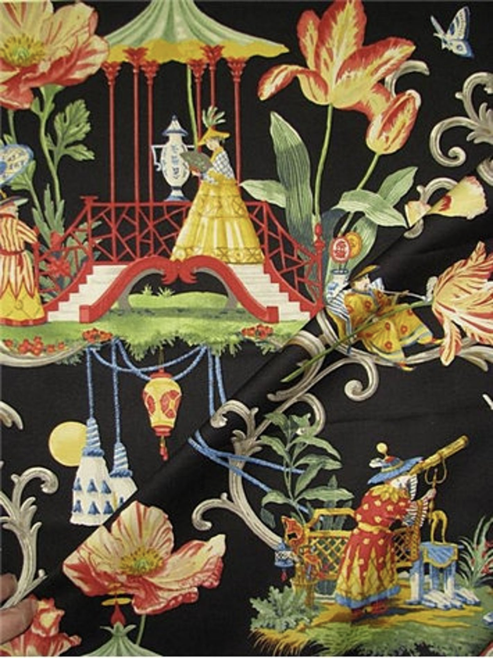 Black, Red, Gold, Green and Blue Asian Toile Pillow Cover