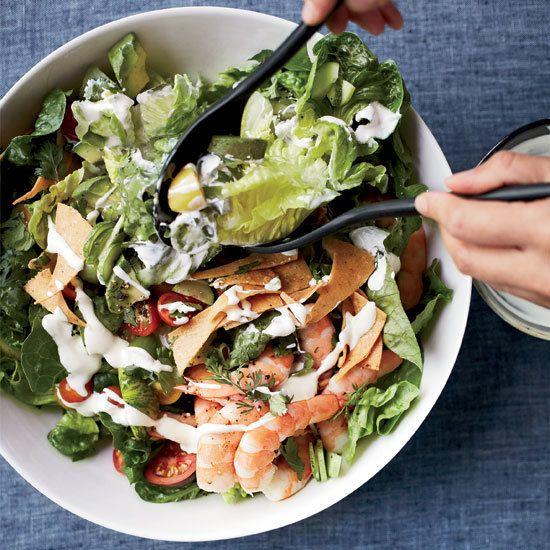 Mexican Shrimp-and-Avocado Salad with Tortilla Chips | Crunchy tortilla chips soak up the delicious salad juices.