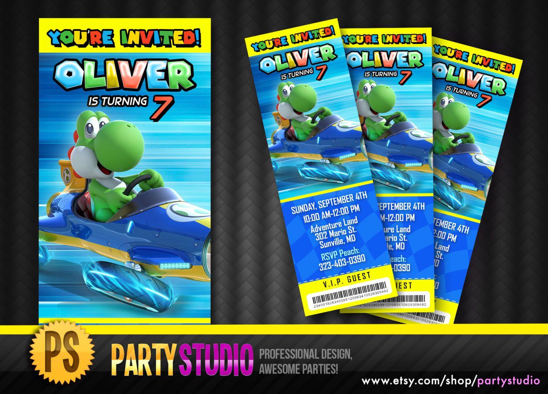 Mario Kart 8 Birthday Yoshi Ticket Invite (Customizable Printable Nintendo Invitations) Wii U by