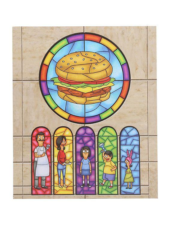 Bob S Burgers Family Stained Glass Window Wood Wall Art Wood