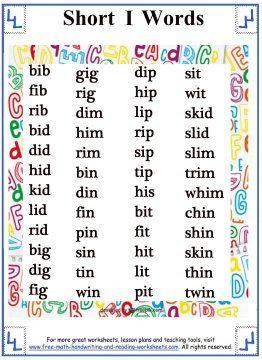 Short Vowel Sound - Word Lists - Short I | Short Vowel Worksheets ...