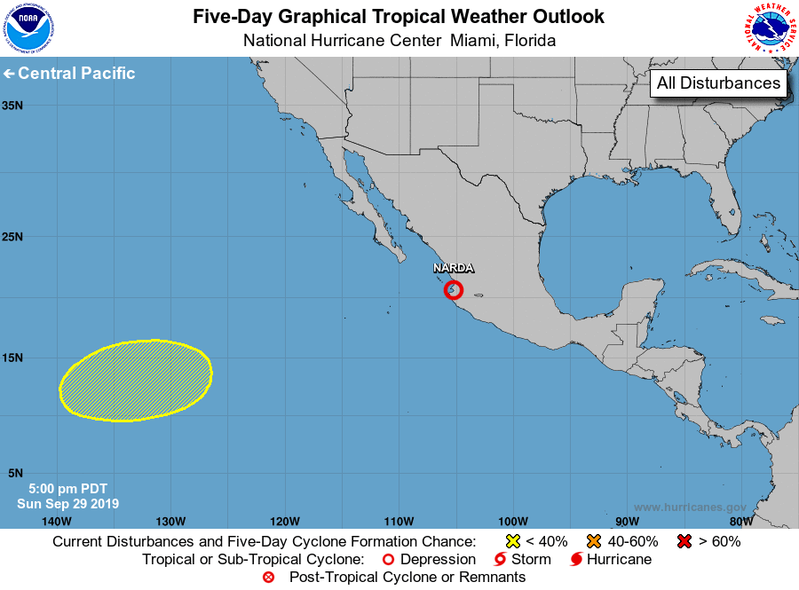 Eastern North Pacific 5 Day Graphical Tropical Weather Outlook National Hurricane Center Tropical Weather