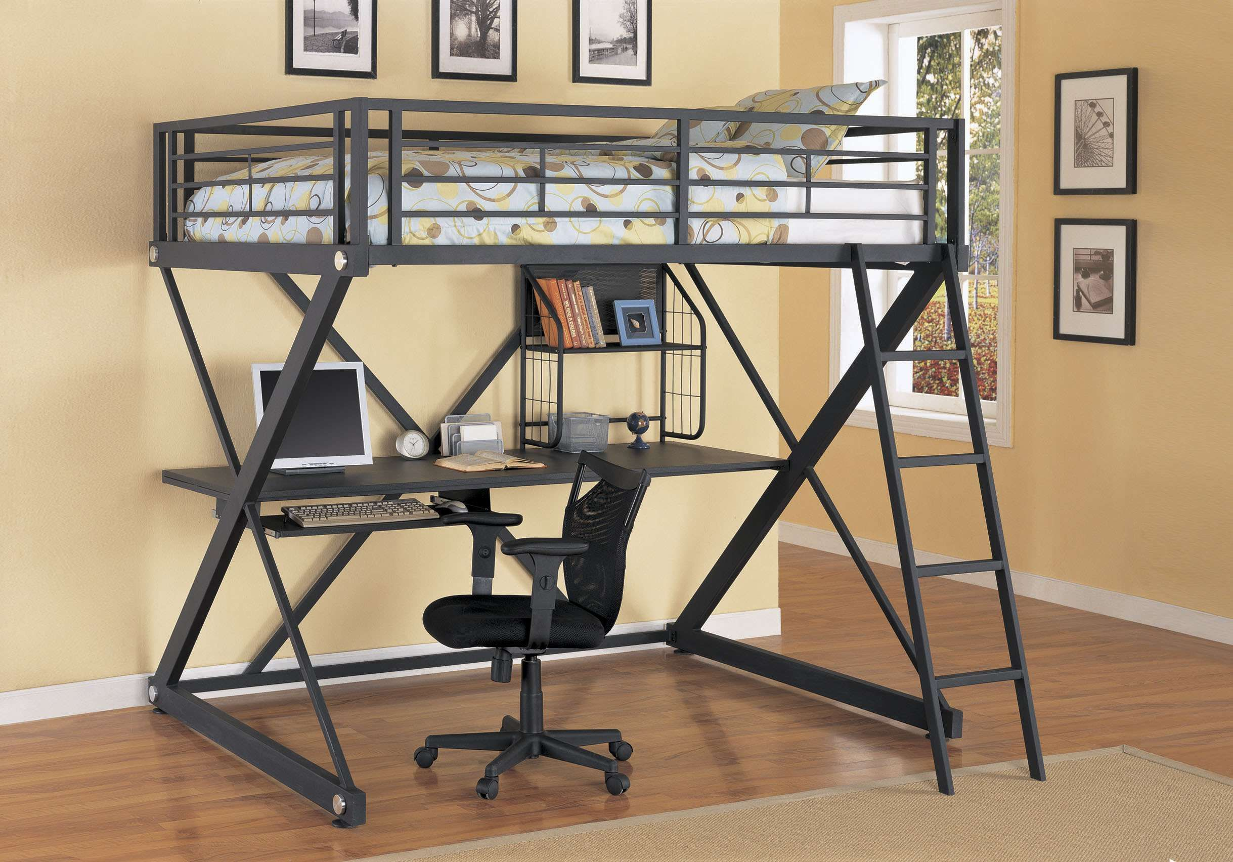 Loft bed with desk full size  Silver ZBedroom Full Size Study Loft Bunk Bed  Loft bunk beds