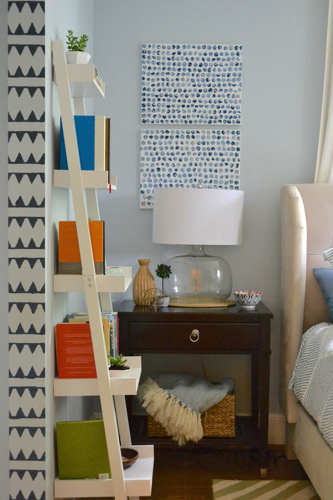 Ladder Bookshelf White Nightstand Styling DesignPOST Interiors