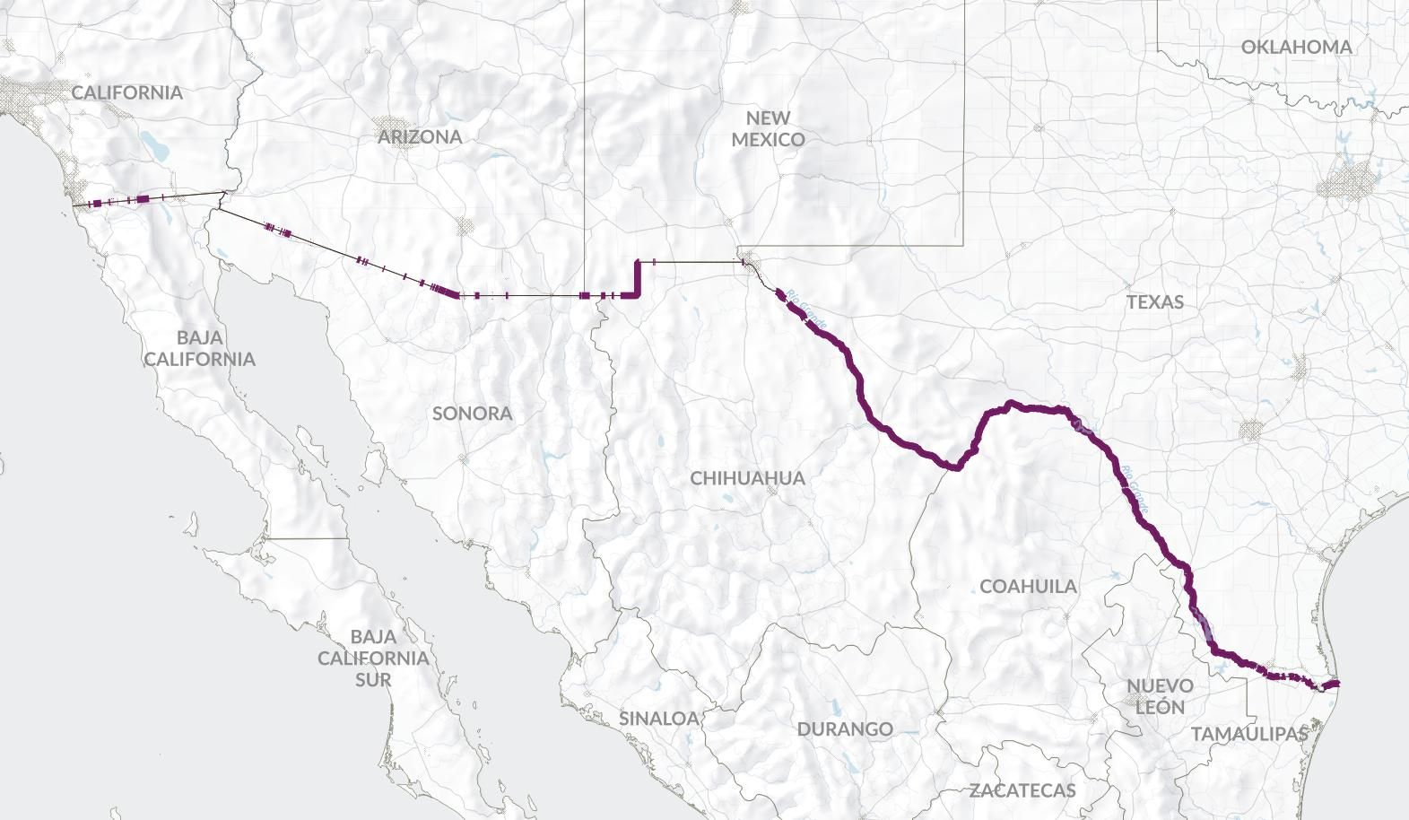 The unfenced portion of US-Mexico border | Map, California ...