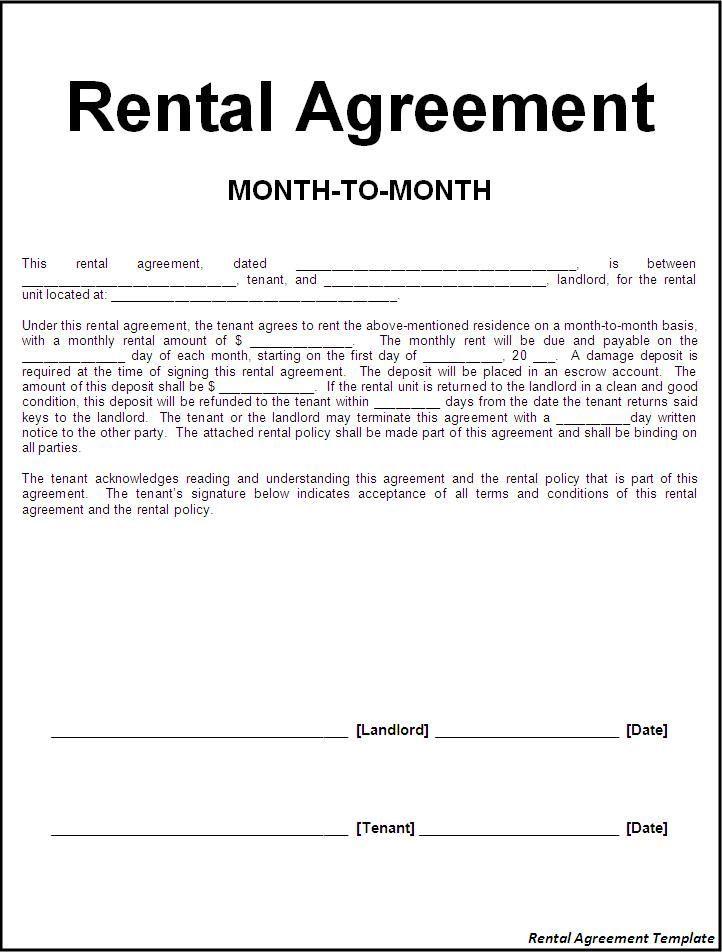 Printable Sample Rental Lease Agreement Templates Free Form   - basic rental agreement letter template