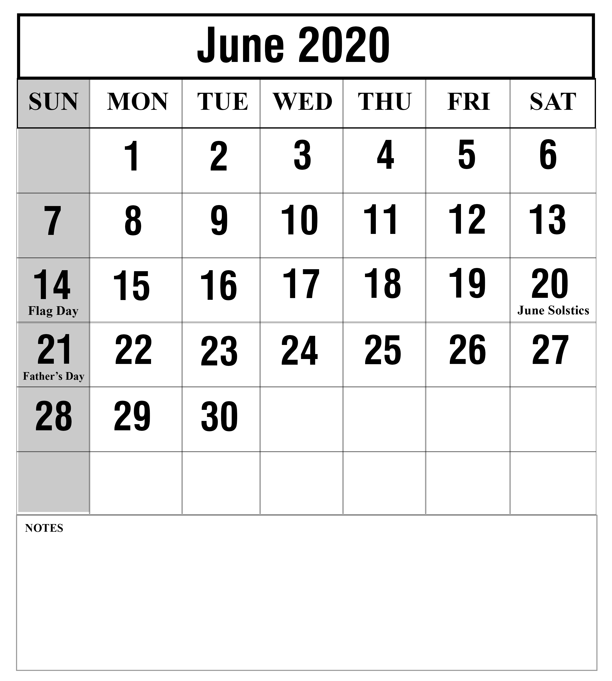 Free Blank June 2020 Calendar Printable Templates Monthly