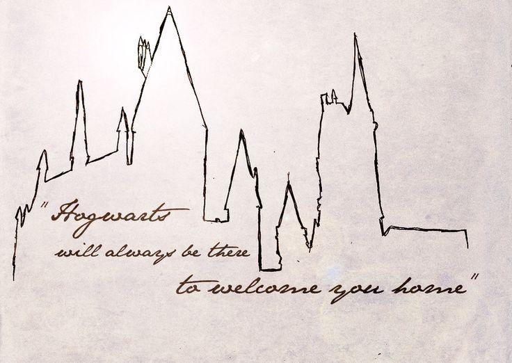 Hogwarts Skyline Would Look Awesome As A Minimal Tattoo Harry Potter Tattoos Hogwarts Hogwarts Tattoo
