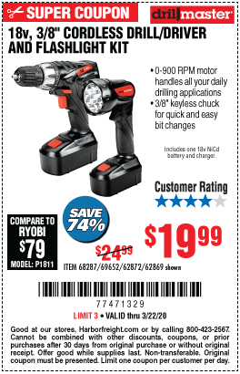 Drill Master 18v 3 8 In Cordless Drill Driver And Flashlight Kit For 19 99 In 2020 Flashlight Kit Harbor Freight Tools Drill Driver