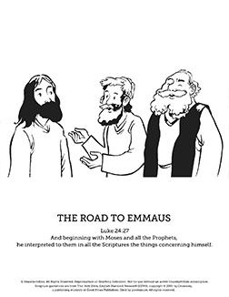 Luke 24 Road to Emmaus Sunday School Coloring Pages: Your