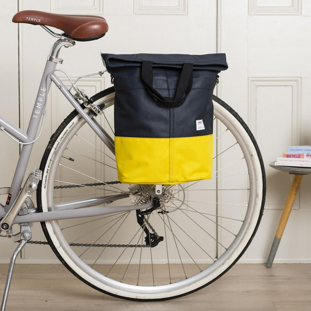 Linus Sac Bike Pannier Bag Navy Yellow Cyclechic Award Winner