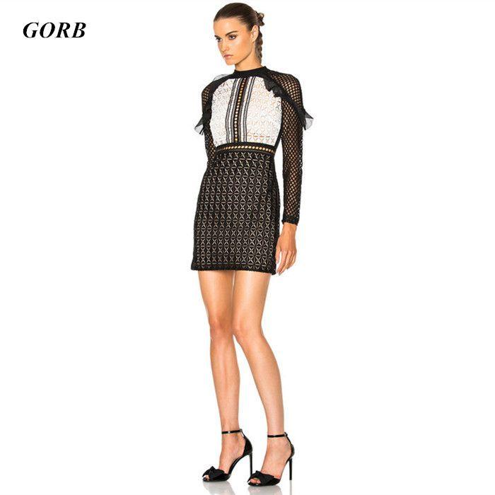2017 new hot sales spring summer women Black white lattice lace dress High-end brand Costume designer turtleneck mini dress