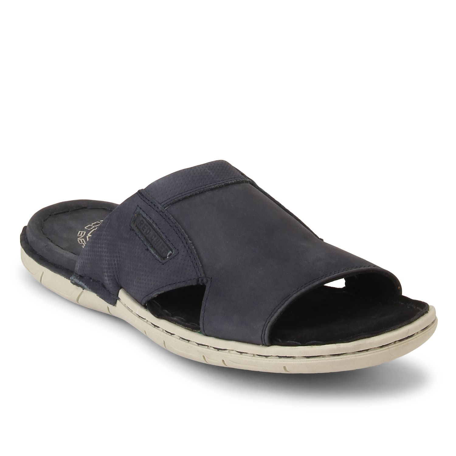 Stay comfortable in these Dark Blue slip on men's sandals brought to you by Red  Chief in their Eco Energy footwear collection. Fully padded upper and suede  ...
