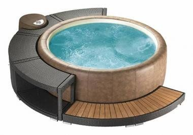 Marinoir 5 8 whirlpoolumrandung mocca fur softub 300 for Whirlpool garten mit metallschrank für balkon
