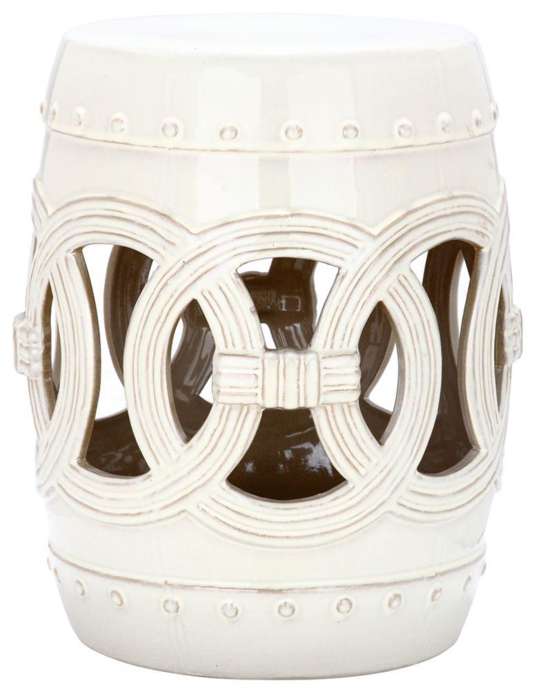 Double Coin Ceramic Patio Stool In Cream