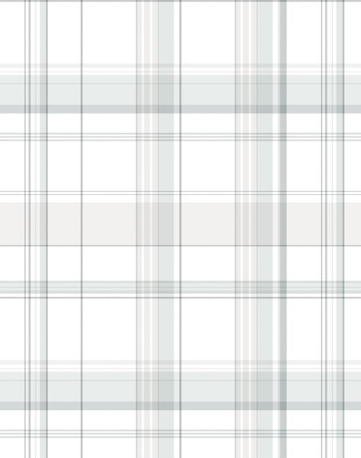 'Sofia Plaid' Wallpaper by Wallshoppe - Fog - Wallpaper Roll