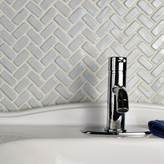 SomerTile 11x11.5-inch London Herringbone White Ceramic Floor and Wall Tile (Case of 5)