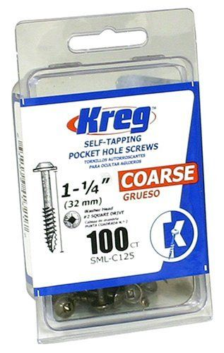 Kreg SML-C125-100 1-1/4-Inch 8-Coarse Washer-Head Pocket Screws, 100-Count by Kreg. $3.97. Amazon.com                The Kreg 1-1/4-Inch #8 Coarse Pocket Hole Screws with Washer-Head, 100 pack, prevents overdriving in pocket bottoms, which is especially critical in composite and plywood work pieces. The self-tapping type 17 auger tip eliminates the need to predrill, and its larger diameter steel shank creates a nearly unbreakable screw. The bronze-colored finish and dry-lubricant...