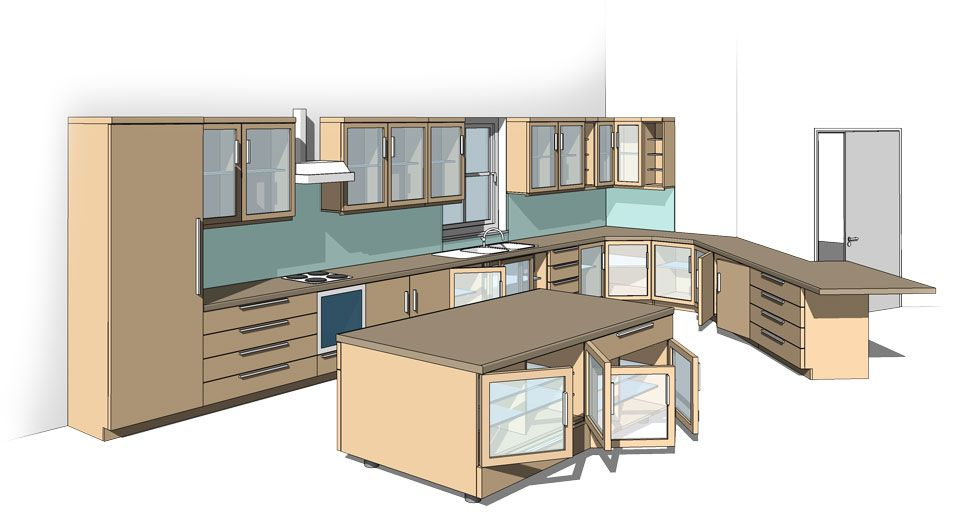 All-in-One Revit Kitchen Family  sc 1 st  Pinterest : revit kitchen cabinets - hauntedcathouse.org