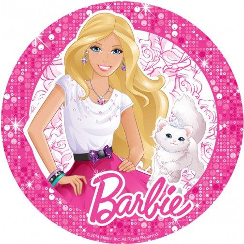 Marvelous Barbie Edible Icing Image Round 16 5Cm Cake Topper Create Your Personalised Birthday Cards Beptaeletsinfo