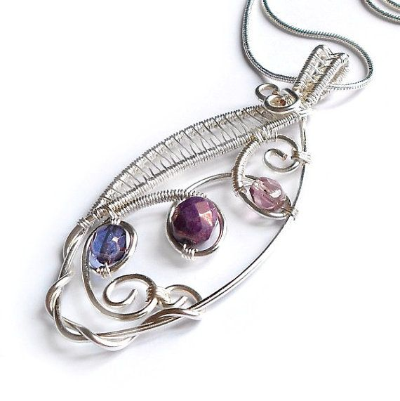 Purple Wire Weave Marquis Pendant Radiant Orchid by KianDesigns ...