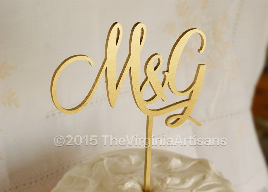 Initials Cake Topper - Two Initials Cake Topper - Two Letters Cake ...