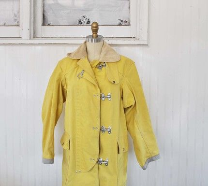 Vintage SUNNY YELLOW Fishermans Coat by MariesVintage on Etsy ...