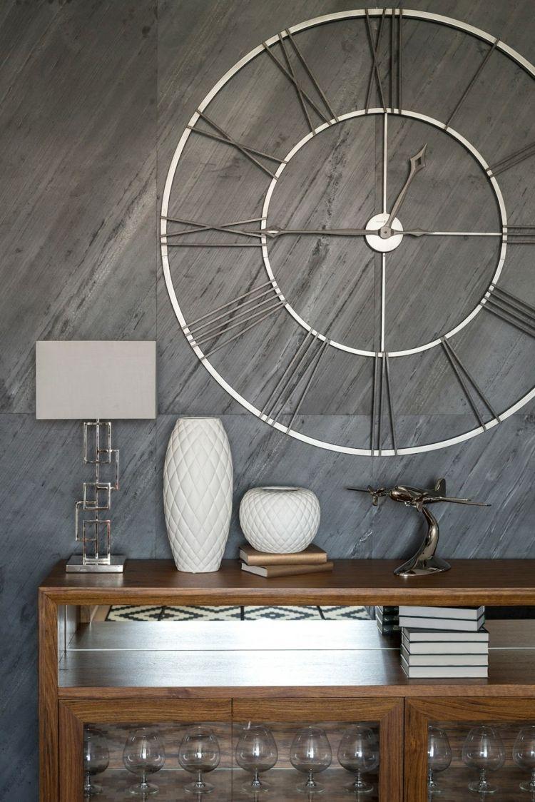 design wanduhr xxl metall modern elegant silber  Wanduhren